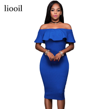 Liooil 2017 Summer Royal Blue Off The Shoulder Midi Bodycon Dress Sexy Ruffles Strapless African Women Celebrity Party Dresses(China)