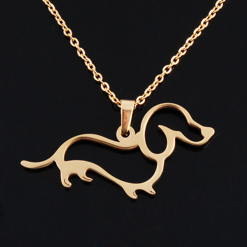 AMORUI Women Gold Silver Dachshund Chain Pendant & Necklace Dog Puppy Pet Necklaces Fashion Trendy Women Animal Pendant Collier 14