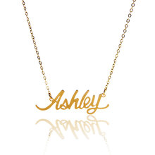 "AOLOSHOW Name Necklace Women "" Ashley "" Gold color Stainless Steel Pendant Nameplate Statement Letter Necklace Gift ,NL-2403"