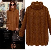 Winter European Style Plus Size Pullover Cashmere Sweater Loose Camel Turtleneck Casual Coat Thick Sweate Maxi Sweater