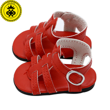 BJD Doll Shoes American Girl Doll Shoes Red White Summer Sandals Fit 18 inch American Girl Doll Accessories Girl Gift xie580(China)
