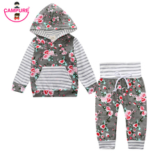 2017 Baby Girl Floral Clothes Set Newborn Toddler Cotton Suit Kids Baby Boy Clothes Outfits Spring Tracksuit Infant Clothing Set