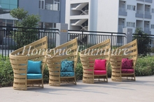 Outdoor patio high back rattan sofa with cushion and pillows sale