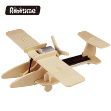 Solar Energy Aircrafts Natural Wooden Toy Agricultural Plane Model Kids Handmade Airplane Rotate Propellers P260(China)