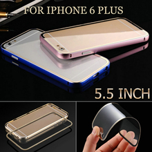 0.03KG Ultra Slim Case For iPhone 6 Plus 5.5 inch Aluminum Frame Clear Acrylic Panel Phone Back Cover Case For iPhone 6 Plus(China)