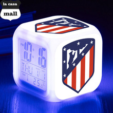 La Liga Football/soccer LED Alarm Clock Spain Football Team Clocks reloj despertador Digital Watch 7 color Flash reveil Toys(China)