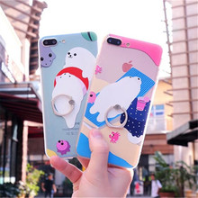 Fashion Cute Cartoon Sea Lion Finger Ring Phone Case For iPhone 6 6S Plus Silicone Cases Soft TPU For iPhone 7 Back Cover Fundas