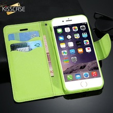 KISSCASE Mercury Fancy Leather Wallet Case For iPhone 7 6 S Plus 5 Flip Full Protective Cover Coque With Card Slot Stand Holder