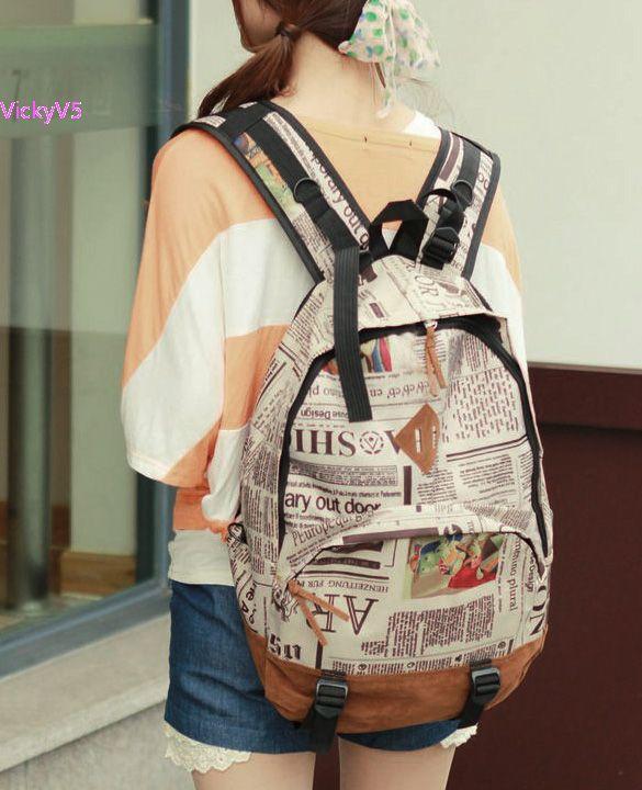 New Fashion Unisex Newspaper US Flag Map Design Print Canvas Lint Backpack Schoolbag Shoulder Bag dropshipping vy<br><br>Aliexpress