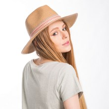 Muchique Women's Summer Sun Hat with Wide Brim Metallic Panama Fedora Paper Straw Hat with Chic Style(China)