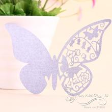 Wedding Table Decoration Laser Cut Butterfly Light Purple Paper Name Place Cards For Wedding Party Decorations(China)