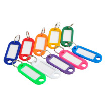 100 Pieces Plastic Key Tags Assorted Key Rings ID Tags Name Card Label Hot Sale