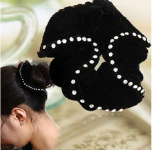 New Velvet Elastic Hair Ties with CZ zircon Hair Bands Women Hair Accessories(China)