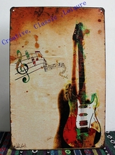 Free shipping metal painting Guitar tin sign, Musical Instruments Guitar metal sign Music store home wall art decoration,30x20cm(China)