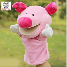 Children Hand Puppet kids doll baby infant plush Stuffed Toy pink lovely pig Puppets toys Christmas birthday gift
