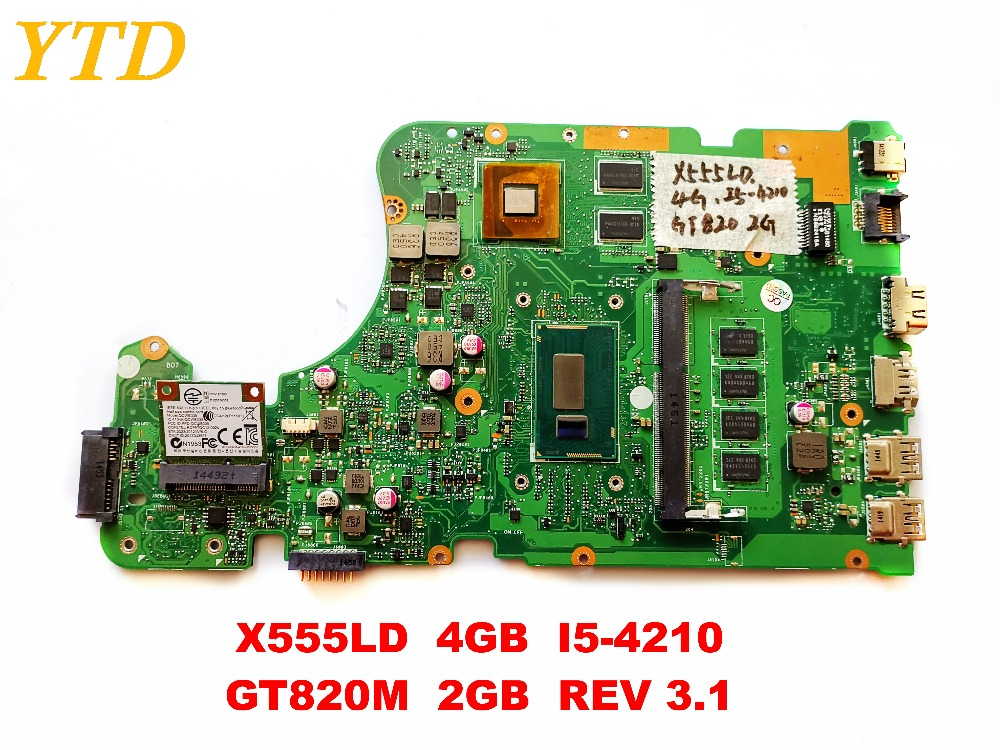 Original for  ASUS X555LD   laptop  motherboard  X555LD  4GB  I5-4210  GT820M  2GB  REV 3.1  tested good free shipping