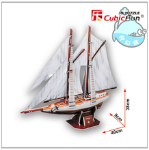 Educational toy 1pc CubicFun double pole Sailing ship 3D paper DIY jigsaw puzzle assembling model kits children boy gift toy