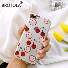 BROTOLA Phone Case Lovely Cartoon Fresh Cherry Cases For iphone 7 Fashion Juicy Peach Soft TPU Crystal Clear Back Cover Coque