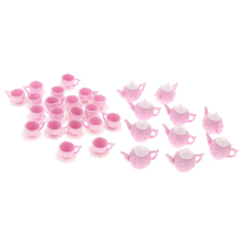 New Arrivals 10 Sets 1/12 Dollhouse Miniature Plastic Pink Tea Pot with 2 Cups Tableware Toys Kitchen Accessory Classic Doll Toy(China)