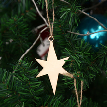 10pcs/lot Hex Star Wooden Pendant Hanging Christmas Tree Ornament Wedding DIY Xmas Decors Art Craft Kids Gifts Party Decorations(China)