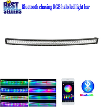 "Nicoko Curved 50"" 288W Chasing RGB Halo LED Light Bar Led lights by Bluetooth for ATV SUV Pickup Truck 4x4 Offroad LED lightBar"