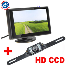 "7LED Car Rearview Camera+4.3"" TFT LCD Car Monitor Auto Parking Assistance System HD 170 degree wide Angle car backup camera(China)"