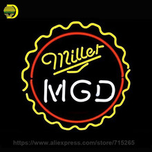 New Miller MGD Sign Neon Sign Decorate Glass Tube Cool Neon Bulbs Recreation Room Indoor Frame Sign Store Wall Displays 24x24(China)