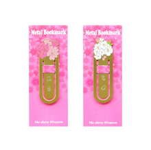 2Pcs/set Cute Green plant Metal bookmarks for reading Vintage Sakura flower paper clip School supplies(China)