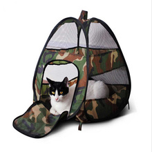 Pet Foldable Cat Houses Fashion Breathable Camouflage Print Portable Indoor&Outdoor Pet Tents Cat Puppy Dog Play Houses With Mat