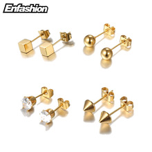 Enfashion Geometric Square Ball Spike Crystal Earrings Rose Gold color Earings Ear Stud Earrings For Women Jewelry Brinco(China)