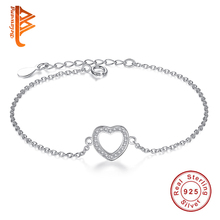 Top Sales 925 Sterling Silver Bracelet for Women Love Heart Pendant Genuine Silver Heart Charm Bracelets Party Jewelry