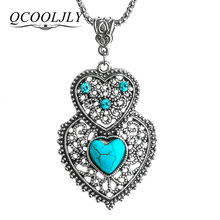 QCOOLJLY Women Long Necklace Zinc Alloy Stone Crystal Heart Pendant Necklace Jewelry(China)