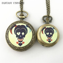 FANTASY UNIVERSE Freeshipping wholesale 20pc a lot Harley Quinn pocket Watch necklace Dia4.7mm and Dia3.5mm  HRSYYT55