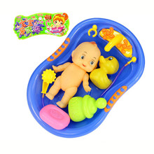 MUQGEW Baby Doll in Bath Tub With Shower Accessories Set Kids Pretend Role Play Toy baby toys toys for children rubber duck(China)