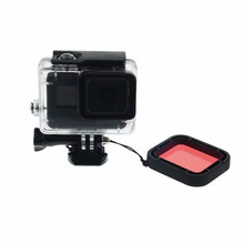 Underwater Diving Filter for Gopro Hero 5 Black Cube Lens Cap Red Color Filter +Sling Waterproof Housing Case Filter for Gopro 5