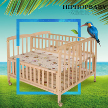Multifunction  Extended Solid Wood Twin Cribs Bed Cradle Bed Newborn Cradle Bed Can Change Learning Desk With Storage Plate