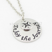 "2016 Hot ! handstampe Jewelry Inspired Jewelry ""Enjoy The Journey"" Compass  necklace Graduation Necklace Graduation Gift"