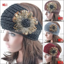 Women knit headbands Fur Flower crochet headwrap winter ear warmer hairband girl headbands made wholesale T-33