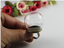 Free Ship! 50sets/lot 20* 12mm glass globe with antique bronze ring setting findings set glass bubble DIY vial pendant