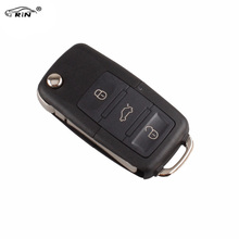 RIN 3 Buttons Remote Flip Folding Car Key Shell Replacement for VW MK4 Bora Golf 4 5 6 Passat Polo Bora Touran With logo