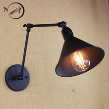 antique black reto industrial metal shade MINI wall lamp with long swing arm for workroom bedside bedroom illumination sconce(China)