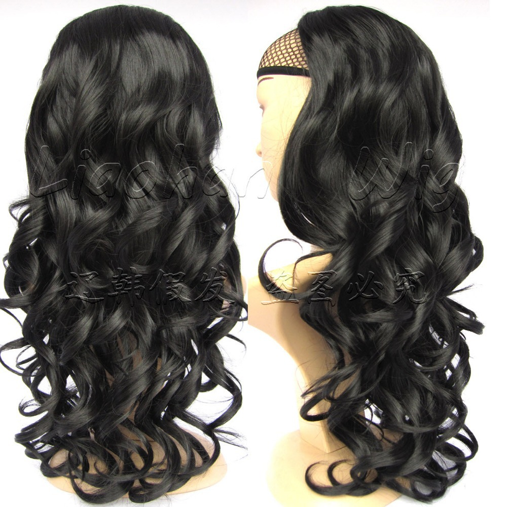 Hot Sale Black Half Wig Long Curly Wig Hair Fall Synthetic Hair #1 Jet Black Wig Synthetic Wigs for Women Free Shipping<br><br>Aliexpress
