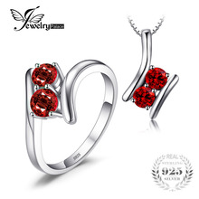 JewelryPalace Fashion 1.9ct Genuine Garnet 2 Stone Pendant Necklace Ring 925 Sterling Silver 45CM Chain Women Fine Jewelry Sets(China)