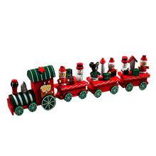 TS  4 Pieces Wood Christmas Xmas Train Decoration Decor Gift AUG 25
