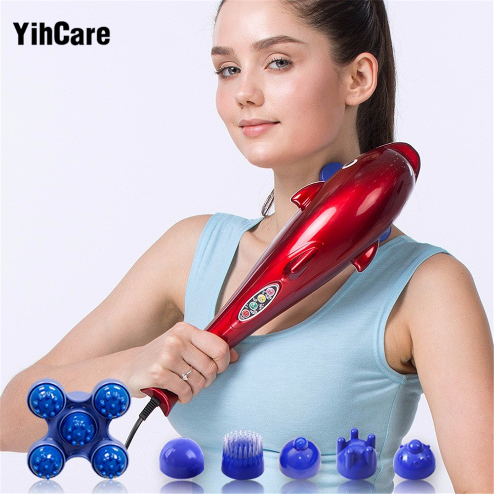 YihCare Electric Cervical Vertebra Massager Device Vibrating Kneading Shoulder Back Neck Massager infrared Shiatsu Body Massage<br>