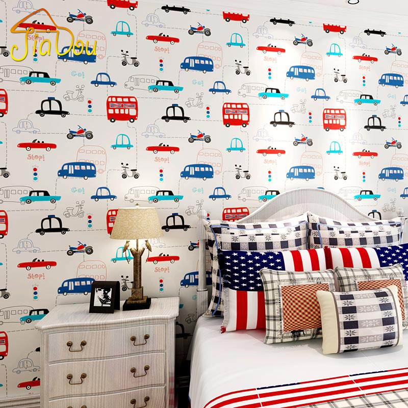 Cartoon Transportation Car Non-woven Wall Paper For Kids Rooms Living Room Sofa Background Wall Decals Home Decoration Wallpaper<br>