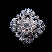 1.25 Inch Silver Plated Rhinestone Crystal Flower Design Collar Brooch pin for wedding invitation