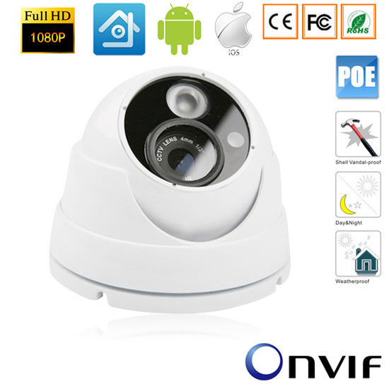 CCTV 1920*1080P 2.0MP IP Outdoor Network Vandalproof IR Camera NightVision  48V Power over Ethernet POE ONVIF Surveillance<br>