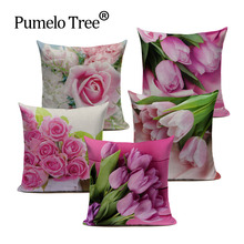 Modern Country Style Pink Flower Tulip Linen Cotton Cushion Cover Decorative Sofa Car Chair Pillow Case Textile Rose 3D Throw(China)