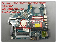 For Acer 5520 5520G 7720 7520 7520G Laptop motherboard LA-3581P mainboard with video card slot 100% Tested Free Shipping